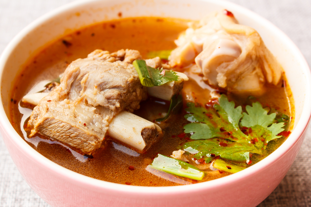 Bowl of pork rib spicy soup