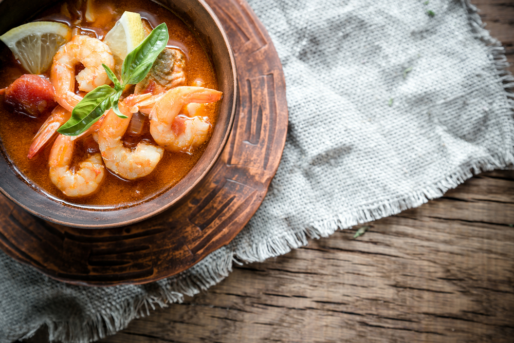 Bowl of shrimp soup