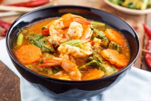 Bowl of spicy seafood soup