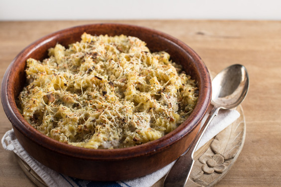 Turkey, sage and onion pasta bake