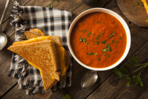 soup with a toastie on the side