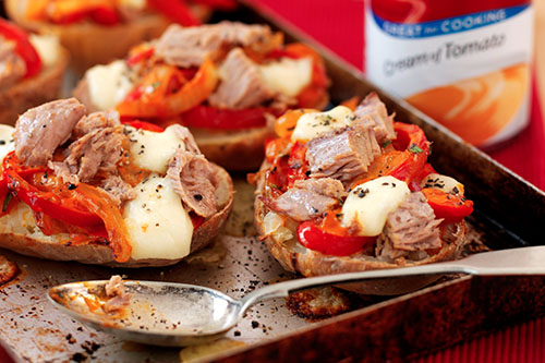 Gary Rhodes' Baked Potato and Tuna Peperonata with Melting Cheese